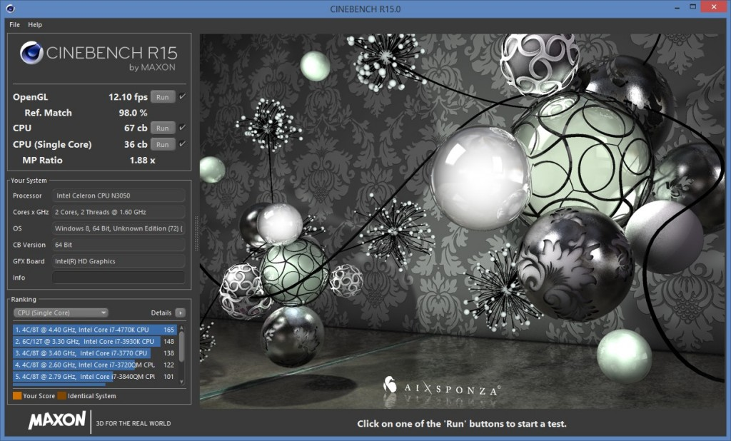 Cinebench Result NUC5CPYH