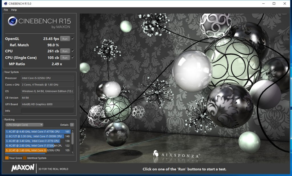 NUC5i5RYK Cinebench R15 result, single-channel memory
