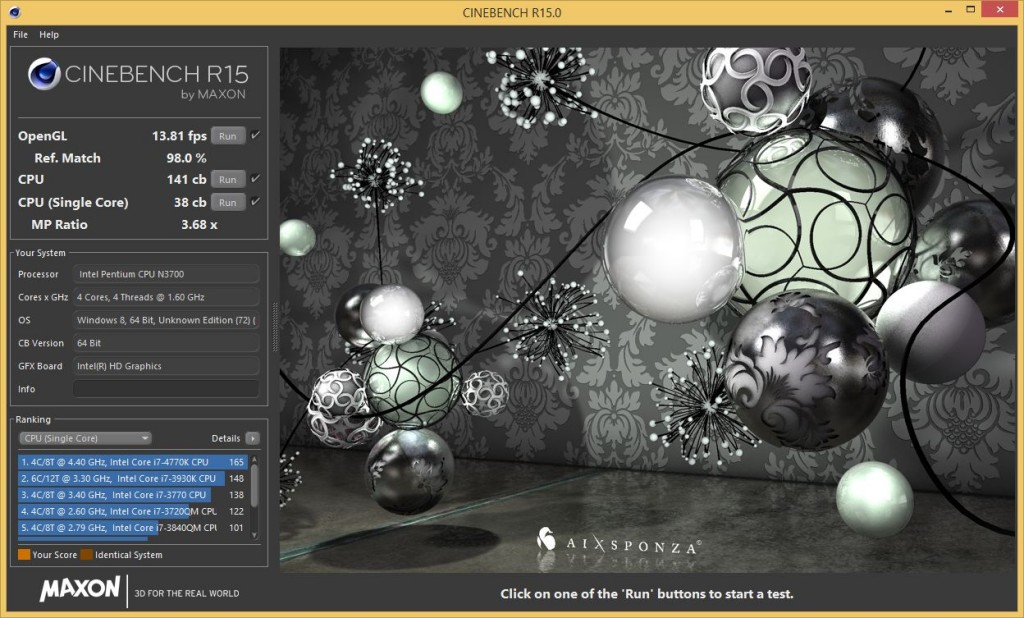 NUC5PPYH Cinebench R15 Results