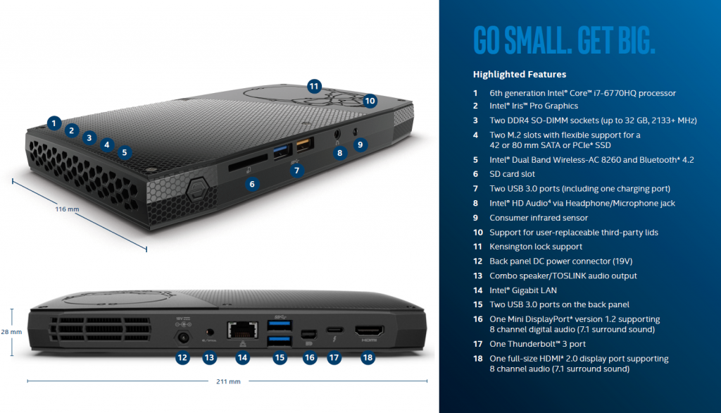 Skull Canyon NUC Features (taken from the product brief)