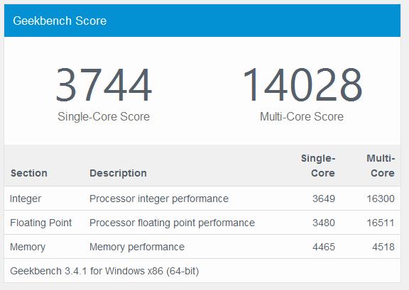 NUC6i7KYK Benchmark Result, Geekbench 64-bit