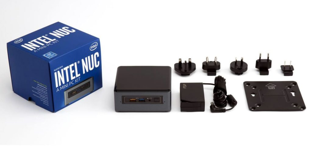 The NUC6CAYH is delivered with a multi-country power supply and VESA mounting plate.