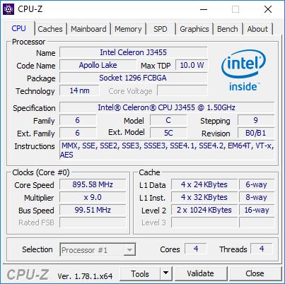NUC6CAYH CPU-Z Information