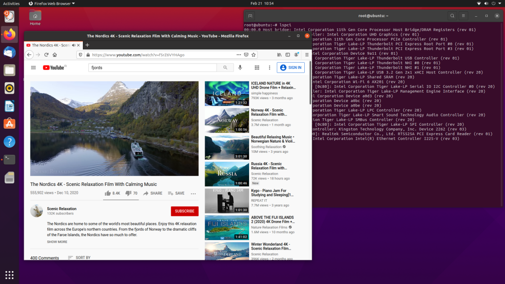 Ubuntu Linux on Panther Canyon NUC NUC11PAHi7